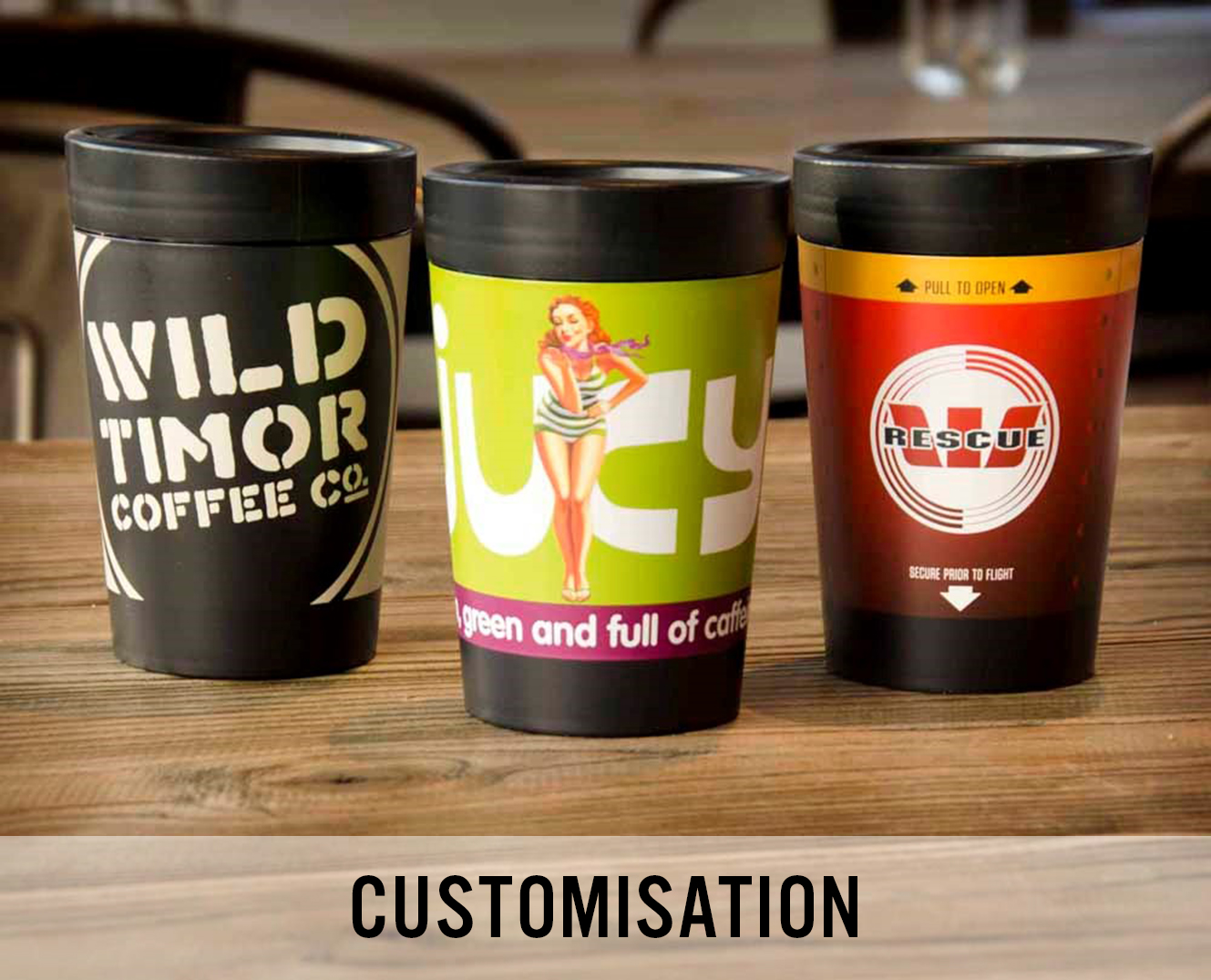 A picture of the custom coffee cups we make at Cuppa Coffee Cup