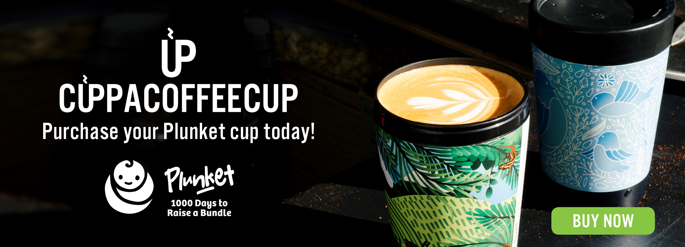Landscape slider picture and link to our partners Plunket Cup. Buy one of our Designer Coffee Cups from them today.